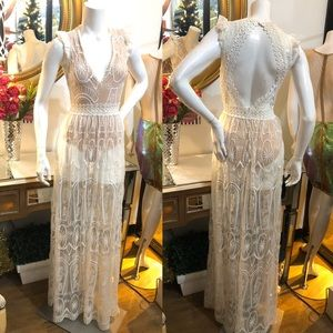 Lace See Thru w Body-suit Maxi Open Back Dress